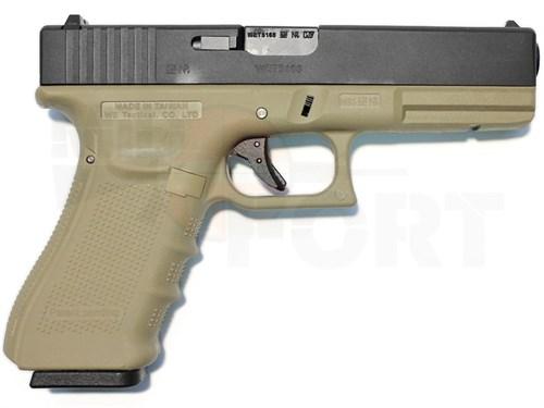 Пистолет газовый WE Glock 17 gen.4 блоубек, металл, грин-газ, песочный - фото 20347