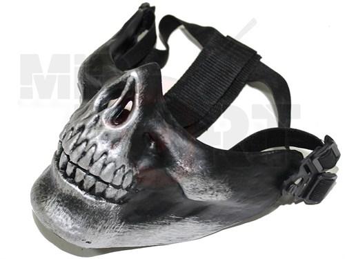 Маска на нижнюю часть лица Череп CM черный с отливом - фото 21176