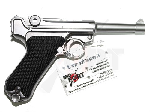 Пистолет газовый WE Luger P-08 4 inch chrome блоубек, металл, хром, грин-газ
