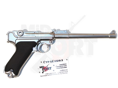 Пистолет газовый WE Luger P-08 8 inch chrome блоубек, металл, хром, грин-газ