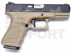Пистолет газовый WE Glock 23 gen.3 блоубек, металл, грин-газ, автомат, тан