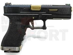 Пистолет газовый WE Glock 17 блоубек, металл, грин-газ, черный/черный/золотой