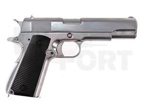 Пистолет газовый WE Colt 1911 блоубек, металл, хром/черн.накладки, грин-газ
