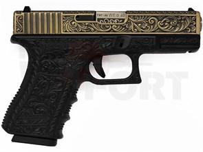 Пистолет газовый WE Glock 19 gen.3 блоубек, металл, грин-газ бронзовый