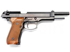 Пистолет газовый WE Beretta M92 Long блоубек, металл, удлин. ствол, дер.накладки, грин-газ
