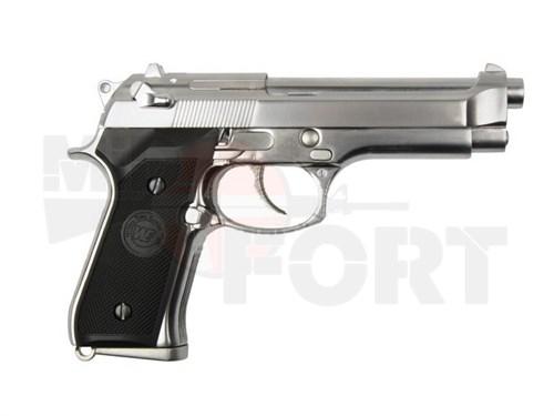 Пистолет газовый WE Beretta M92 блоубек, хром, металл, CO2 - фото 14830