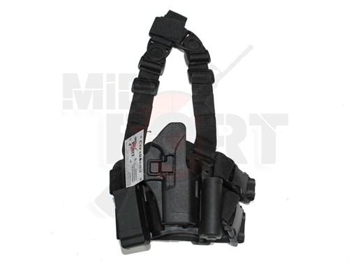 Кобура набедренная CM пластик с быстр. доступом для Glock17 репл. Blackhawk CQC черная - фото 20916
