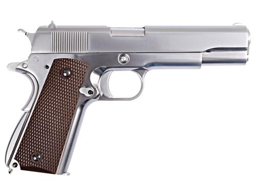 Пистолет газовый WE Colt 1911 блоубек, металл, хром/коричн.накладки, грин-газ