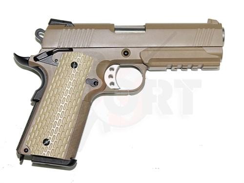 Пистолет газовый WE SOCOM 4.3 FDE блоубек, металл, планка, тан, грин-газ