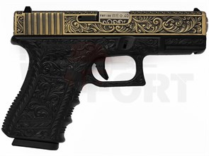 Пистолет газовый WE Glock 19 gen.3 бронзовый