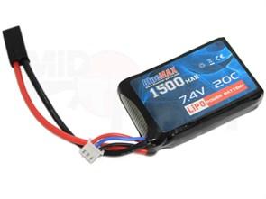 Аккумулятор 7.4В 1500мАч PEQ-тип LiPo 20С BlueMAX мини-разъем 16*43*65