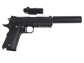 Пистолет спринг Galaxy Colt 1911 PD Rail с глушителем и ЛЦУ