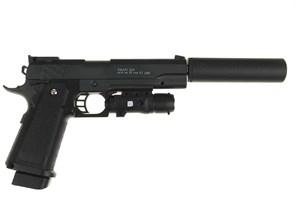 Пистолет спринг Galaxy Colt 1911 с лцу и глушителем / G.6A
