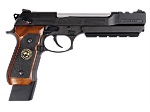 Пистолет газовый WE Beretta M9 Biohazard Samurai STARS Long блоубек, хром. ствол, металл, коричневые