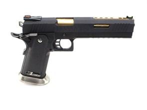 Пистолет газовый WE Hi-Capa 6.0 блоубек, металл, черный\золото, грин-газ