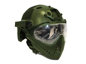 Шлем WST реплика FAST очками и маской олива