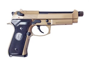 Пистолет газовый KJW Beretta M9A1 блоубек, металл, ТАН, грин-газ
