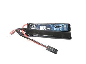 Аккумулятор 7.4В 1100мАч 2-разд LiPo 20С BlueMax мини-разъем /102*21*14
