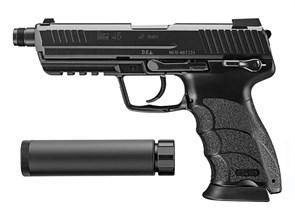 Пистолет газовый Tokyo Marui HK45 TACTICAL с глушителм блоубек, грин-газ