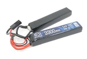 Аккумулятор 7.4В 3300мАч 2-разд LiPo 20С BlueMax мини-разъем /128*21*19