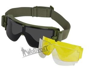 Очки тактические WST ATF репл. Bolle X800 3 линзы олива