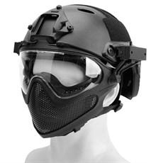 Шлем WST реплика FAST PJ очками и маской черный L