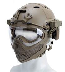 Шлем WST реплика FAST PJ очками и маской тан L