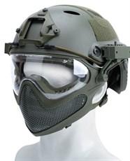 Шлем WST реплика FAST PJ очками и маской олива L