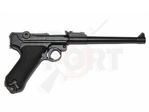Пистолет газовый WE Luger P-08 8 inch блоубек, металл, грин-газ