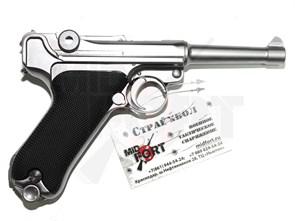 Пистолет газовый WE Luger P-08 4 inch chrome блоубек, металл, хром, грин-газ