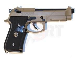 Пистолет газовый WE Beretta M9A1 MEU блоубек, металл, марк. USMC, тан грин-газ